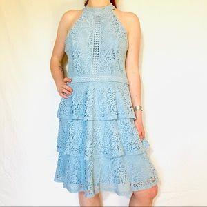 Aqua Lace Halter Dress